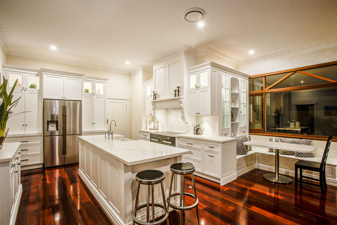 Town & Country Designs hamptons style kitchen dark floorboards white cabinetry