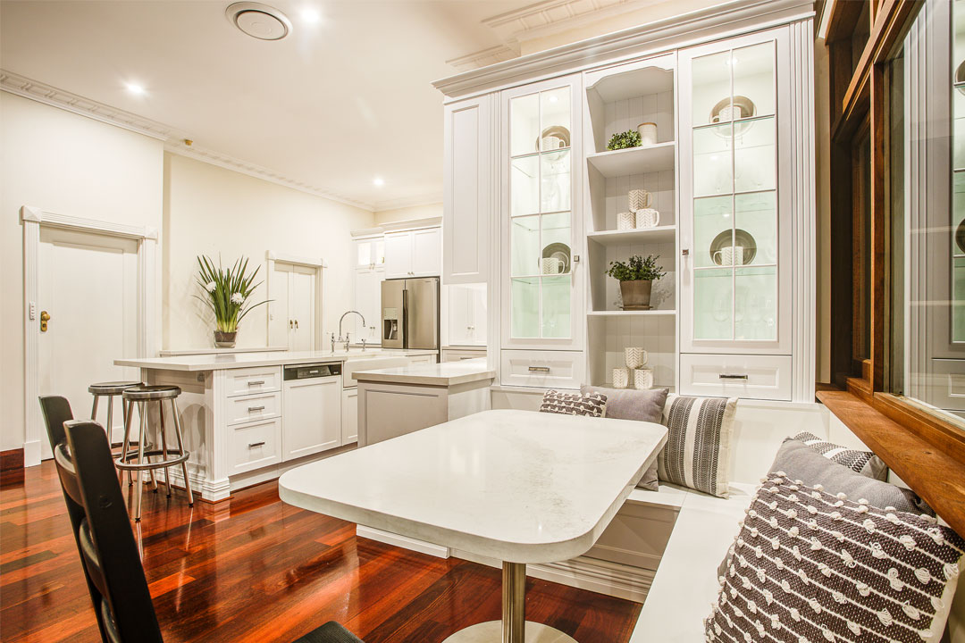 Town & Country Designs hamptons style kitchen table and built in seats